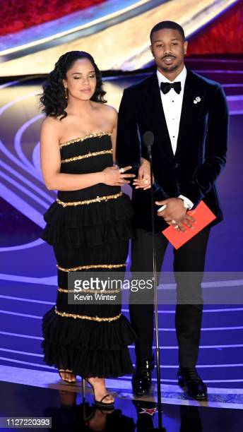 HOLLYWOOD CALIFORNIA Tessa Thompson and Michael B Jordan speak onstage during the 91st Annual Academy Awards at Dolby Theatre on February 24 2019 in...