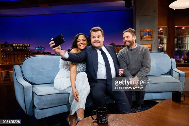 Tessa Thompson and Zach Galifianakis chat with James Corden during 'The Late Late Show with James Corden' Tuesday February 20 2018 On The CBS...