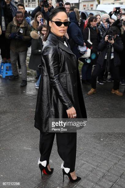 Tessa Thompson arrives at the Valentino show as part of the Paris Fashion Week Womenswear Fall/Winter 2018/2019 on March 4 2018 in Paris France