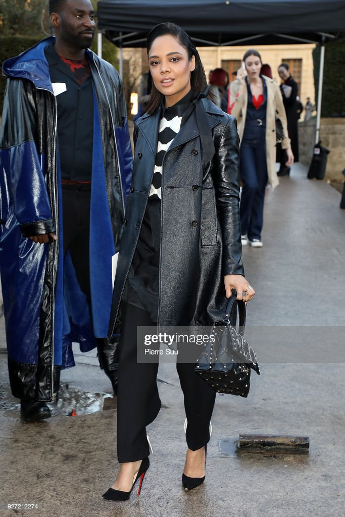 Tessa Thompson arrives at the Valentino show as part of the Paris Fashion Week Womenswear Fall/Winter 2018/2019 on March 4, 2018 in Paris, France.