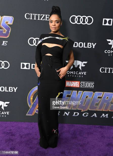 Tessa Thompson arrives at the world premiere Of Walt Disney Studios Motion Pictures Avengers Endgame at Los Angeles Convention Center on April 22...