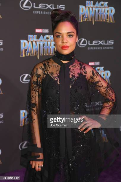 Tessa Thompson arrives for the World Premiere of Marvel Studios' Black Panther presented by Lexus at Dolby Theatre in Hollywood on January 29th