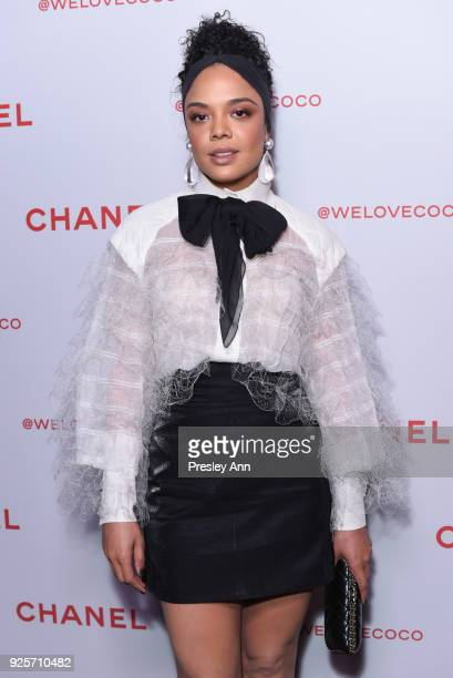 Tessa Thompson attends Chanel Party to Celebrate the Chanel Beauty House and @WELOVECOCO on February 28 2018 in Los Angeles California