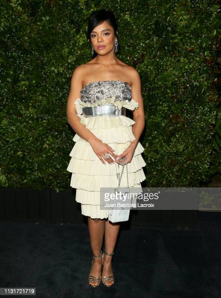 Tessa Thompson attends Charles Finch And CHANEL's 11th Annual PreOscar Awards Dinner at Polo Lounge at The Beverly Hills Hotel on February 23 2019 in...