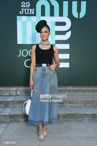 Tessa Thompson attends miu miu club event at Hippodrome d'Auteuil on June 29 2019 in Paris France