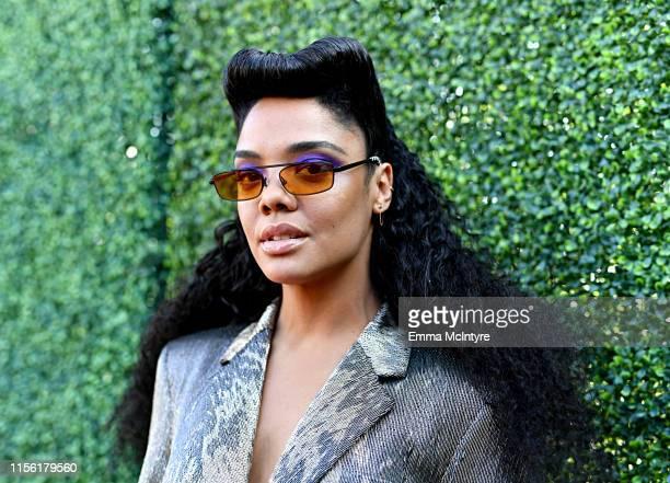 Tessa Thompson attends the 2019 MTV Movie and TV Awards at Barker Hangar on June 15 2019 in Santa Monica California