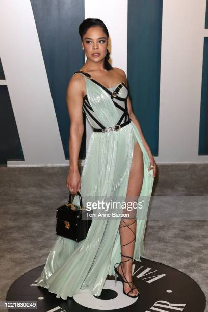 Tessa Thompson attends the 2020 Vanity Fair Oscar Party at Wallis Annenberg Center for the Performing Arts on February 09 2020 in Beverly Hills...