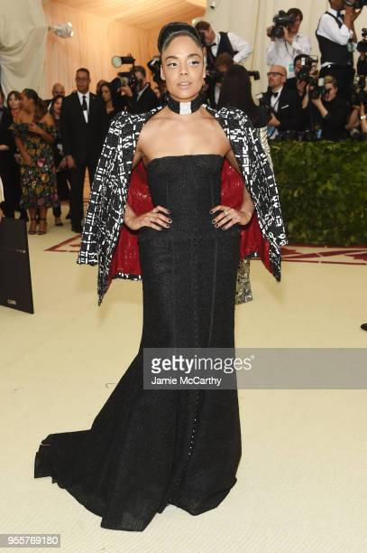 Tessa Thompson attends the Heavenly Bodies Fashion The Catholic Imagination Costume Institute Gala at The Metropolitan Museum of Art on May 7 2018 in...