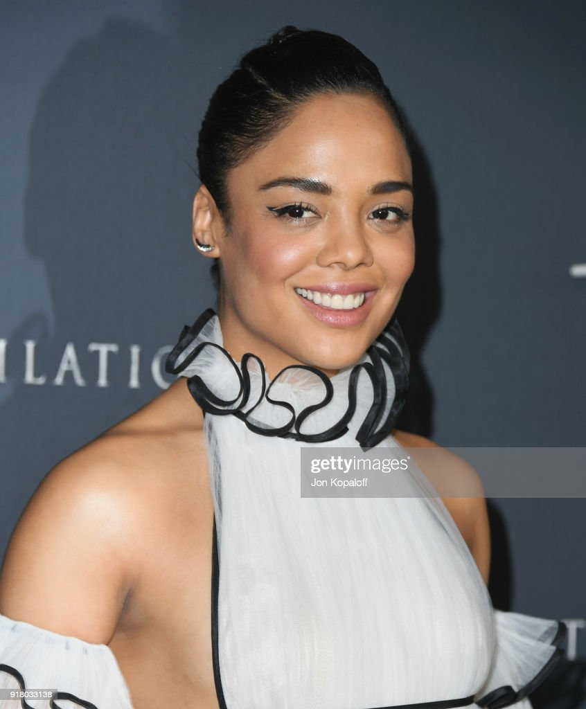 Tessa Thompson attends the Los Angeles premiere 'Annihilation' at Regency Village Theatre on February 13, 2018 in Westwood, California.
