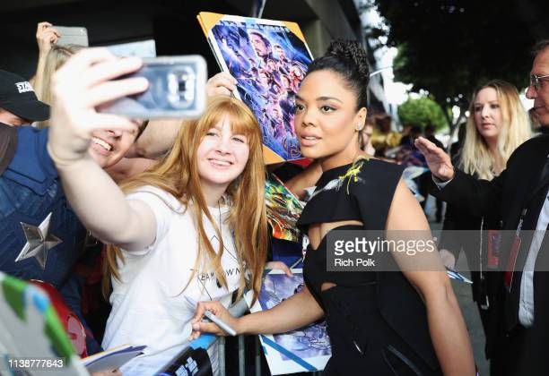 Tessa Thompson attends the Los Angeles World Premiere of Marvel Studios' Avengers Endgame at the Los Angeles Convention Center on April 23 2019 in...