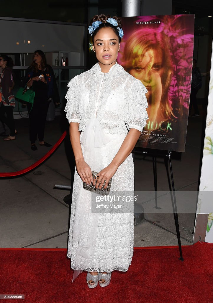 Tessa Thompson attends the premiere of A24's 'Woodshock' at the ArcLight Cinemas on September 18, 2017 in Hollywood, California.