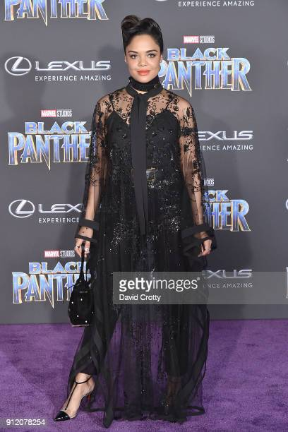 Tessa Thompson attends the Premiere Of Disney And Marvel's 'Black Panther' Arrivals on January 29 2018 in Hollywood California