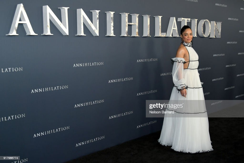 Tessa Thompson attends the premiere of Paramount Pictures' 'Annihilation' at Regency Village Theatre on February 13, 2018 in Westwood, California.