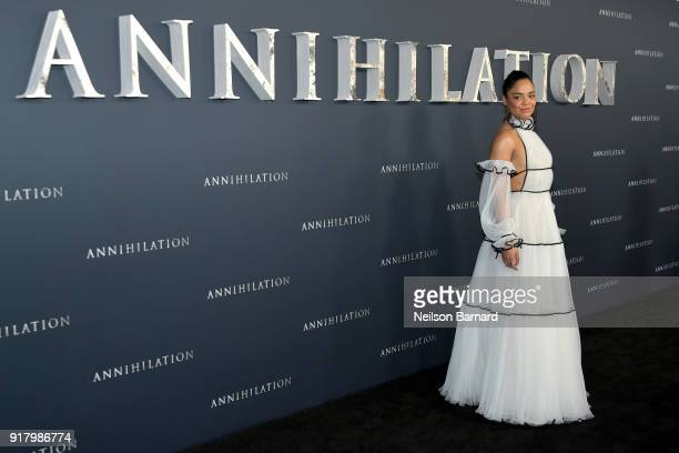 Tessa Thompson attends the premiere of Paramount Pictures' 'Annihilation' at Regency Village Theatre on February 13 2018 in Westwood California