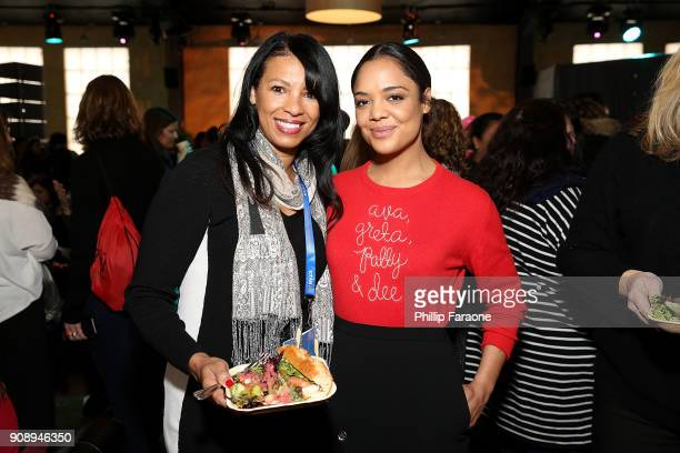 Tessa Thompson attends The Sundance Institute Refinery29 and DOVE Chocolate Present 2018 Women at Sundance Brunch at The Shop on January 22 2018 in...