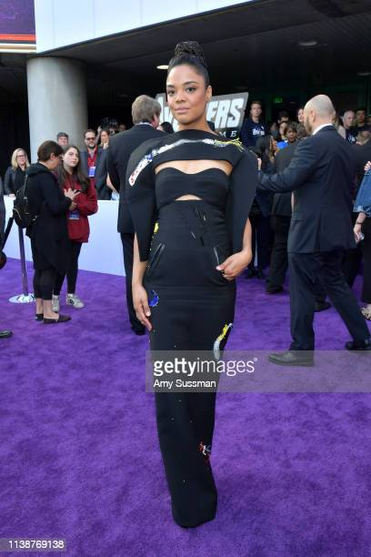Tessa Thompson attends the world premiere of Walt Disney Studios Motion Pictures Avengers Endgame at the Los Angeles Convention Center on April 22...