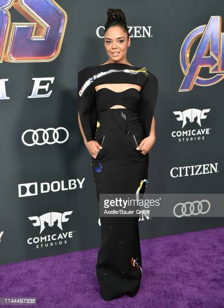 Tessa Thompson attends the World Premiere of Walt Disney Studios Motion Pictures 'Avengers Endgame' at Los Angeles Convention Center on April 22 2019...