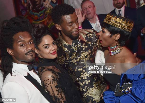 Tessa Thompson Chadwick Boseman and recording artist Janelle Monae at the Los Angeles World Premiere of Marvel Studios' BLACK PANTHER at Dolby...