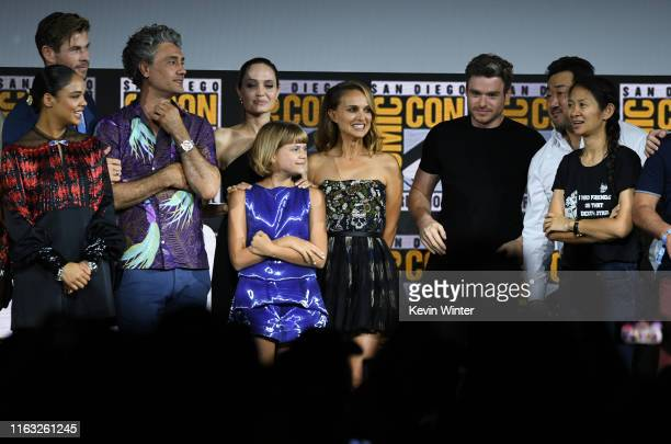 Tessa Thompson, Chris Hemsworth, Taika Waititi, Angelina Jolie, Lia McHugh, Natalie Portman, Richard Madden, Dong-seok Ma and Chloe Zhao speak at the...