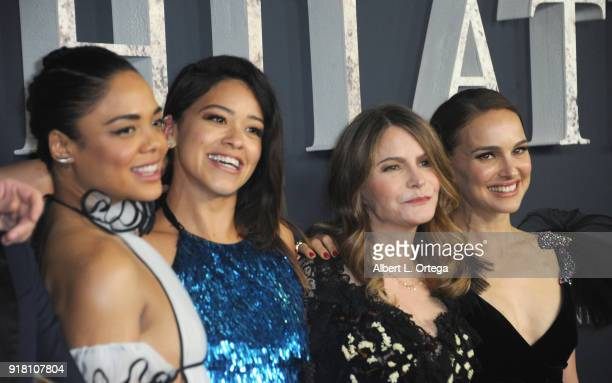 Tessa Thompson Gina Rodriguez Jennifer Jason Leigh and Natalie Portman arrive for the Premiere Of Paramount Pictures' 'Annihilation' held at Regency...