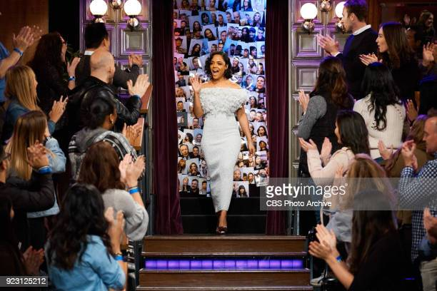 Tessa Thompson greets the audience during 'The Late Late Show with James Corden' Tuesday February 20 2018 On The CBS Television Network