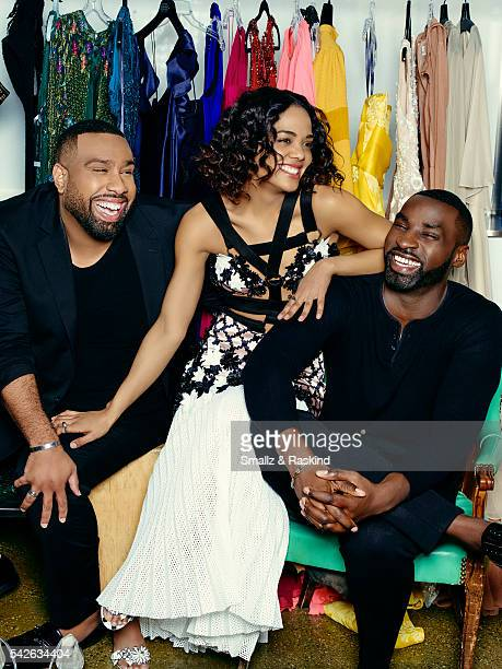 Tessa Thompson is photographed with stylists Micah McDonald and Wayman Bannerman for The Hollywood Reporter on March 8 2016 in Los Angeles California