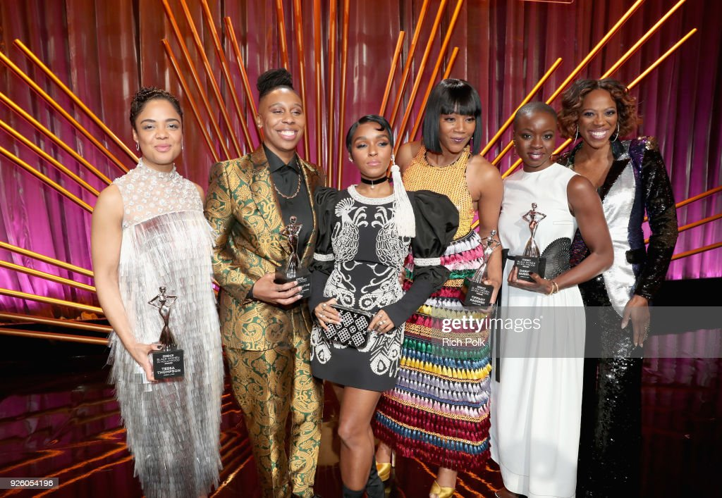 Tessa Thompson, Lena Waithe, Janelle Monae, Tiffany Haddish, Danai Gurira and Yvonne Orji onstage during the 2018 Essence Black Women In Hollywood Oscars Luncheon at Regent Beverly Wilshire Hotel on March 1, 2018 in Beverly Hills, California.
