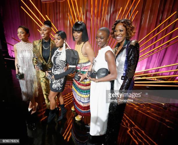 Tessa Thompson Lena Waithe Janelle Monae Tiffany Haddish Danai Gurira and Yvonne Orji pose onstage during the 2018 Essence Black Women In Hollywood...