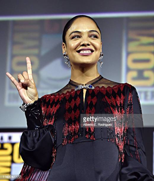 Tessa Thompson of Marvel Studios' 'Thor: Love and Thunder' at the San Diego Comic-Con International 2019 Marvel Studios Panel in Hall H on July 20,...