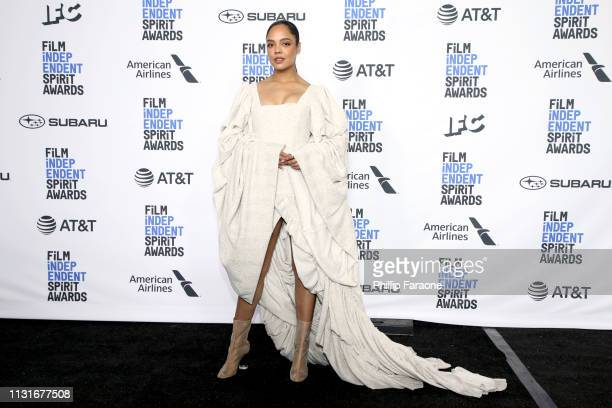 Tessa Thompson poses in the press room during the 2019 Film Independent Spirit Awards on February 23 2019 in Santa Monica California