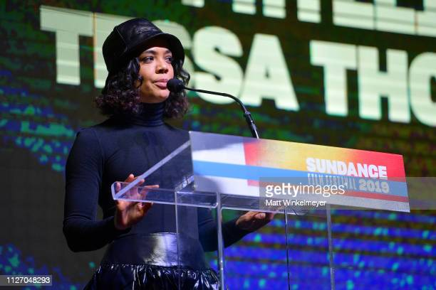 Tessa Thompson speaks onstage during th Sundance Film Festival Awards Night Ceremony at Basin Recreation Field House on February 02, 2019 in Park...