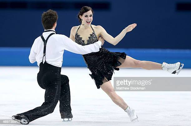 Tessa Virtue and Scott Moir of Canada compete during the Figure Skating Ice Dance Short Dance on day 9 of the Sochi 2014 Winter Olympics at Iceberg...