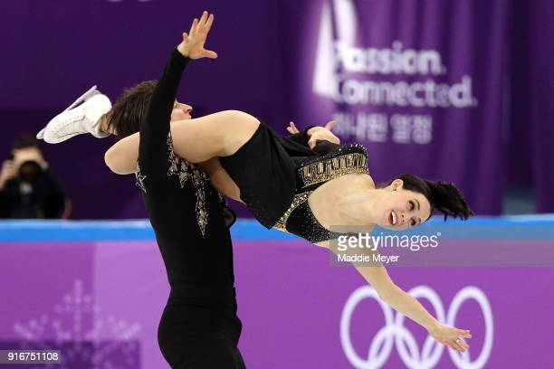 Tessa Virtue and Scott Moir of Canada compete in the Figure Skating Team Event Ice Dance Short Dance on day two of the PyeongChang 2018 Winter...