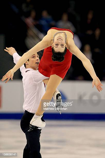 Tessa Virtue and Scott Moir of Canada compete in the Free Dance during the ISU Four Continents Figure Skating Championships at World Arena on...