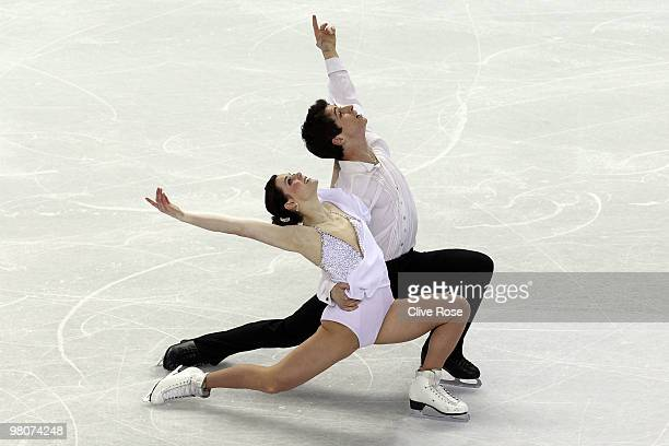 Tessa Virtue and Scott Moir of Canada compete in the Ice Dance Free Dance during the 2010 ISU World Figure Skating Championships on March 26 2010 at...