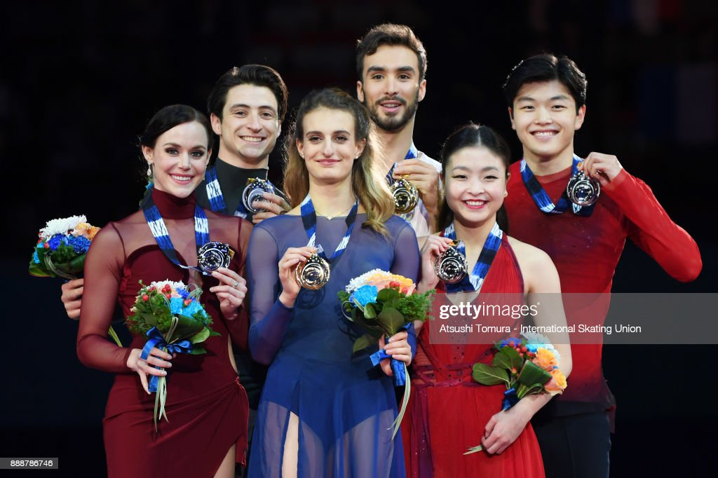Tessa Virtue and Scott Moir of Canada (silver), Gabriella Papadakis and Guillaume Cizeron of France (gold) and Maia Shibutani and Alex Shibutani of the USA (bronze) pose on the podium after the Ice dance free dance during the ISU Junior & Senior Grand Prix of Figure Skating Final at Nippon Gaishi Hall on December 9, 2017 in Nagoya, Japan.