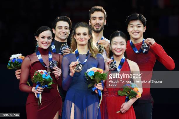 Tessa Virtue and Scott Moir of Canada Gabriella Papadakis and Guillaume Cizeron of France and Maia Shibutani and Alex Shibutani of the USA pose on...