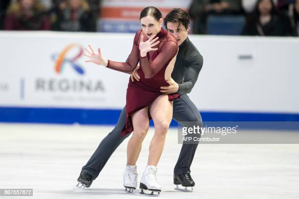 Tessa Virtue and Scott Moir of Canada perform their free dance in the dance competition at the 2017 Skate Canada International ISU Grand Prix event...