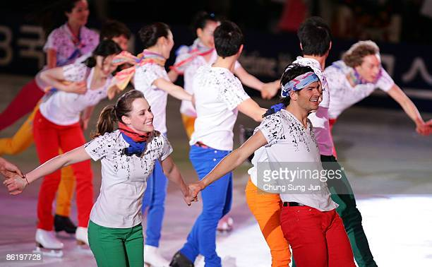 Tessa Virtue and Scott Moir of Canada perform with other skaters during Festa on Ice 2009 at KINTEX on April 24 2009 in Goyang South Korea