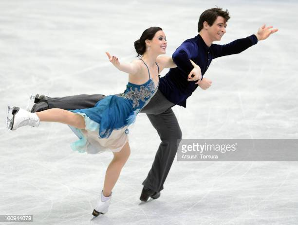 Tessa Virtue and Scott Moir of Canada skate in the Ice Dance Short Dance during day one of the ISU Four Continents Figure Skating Championships at...