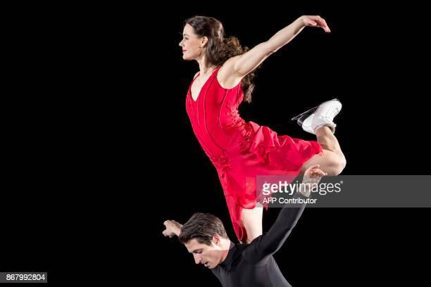 Tessa Virtue and Scott Moir of Canada skate their exhibition program during the ISU Grand Prix of Figure Skating's Skate Canada International at...
