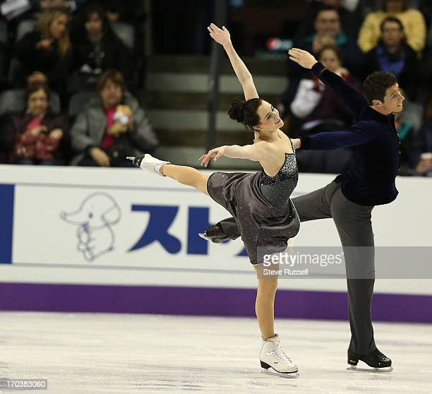 Tessa Virtue and Scott Moir practice their routine as skaters prepare to compete in the ISU World Figure Skating Championships at Budweiser Gardens.
