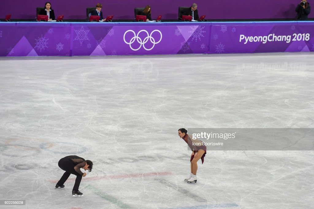 Tessa Virtue and Scott Moir (CAN) react to their gold medal performance in Ice Dancing during the 2018 Winter Olympic Games at the Gangneung Ice Arena on February 20, 2018 in PyeongChang, South Korea.