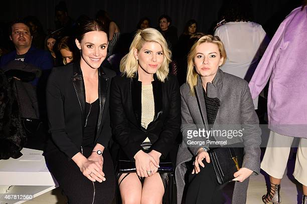 Tessa Virtue LeeAnn Cuthbert and Elisha Cuthbert attend World MasterCard Fashion Week Fall 2015 Collections Day 4 at David Pecaut Square on March 26...