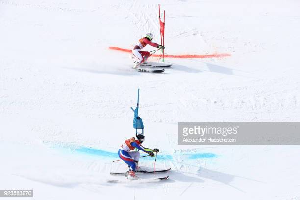 Tessa Worley of France and Wendy Holdener of Switzerland compete during the Alpine Team Event semi final on day 15 of the PyeongChang 2018 Winter...