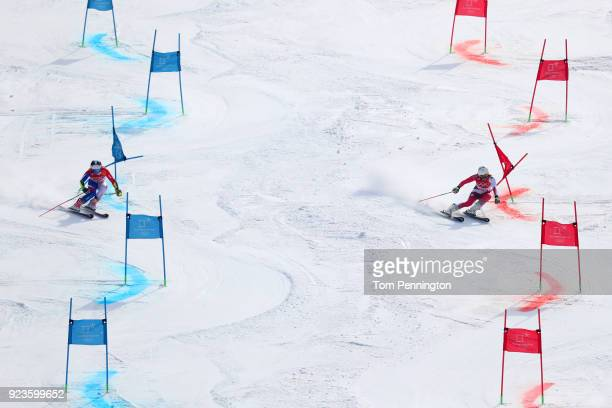 Tessa Worley of France and Wendy Holdener of Switzerland compete during the Alpine Team Event Semifinals on day 15 of the PyeongChang 2018 Winter...
