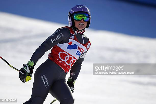 Tessa Worley of France celebrates during the Audi FIS Alpine Ski World Cup Women's Giant Slalom on December 10 2016 in Sestriere Italy
