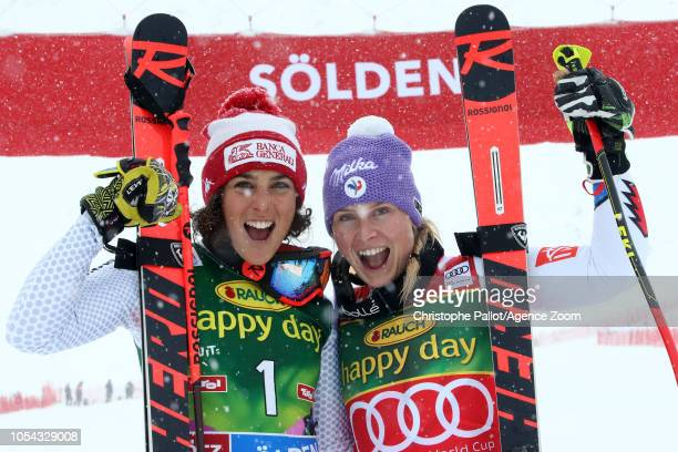 Tessa Worley of France celebrates Federica Brignone of Italy celebrates during the Audi FIS Alpine Ski World Cup Women's Giant Slalom on October 27...