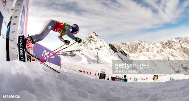 Tessa Worley of France competes duirng the women's Giant Slalom event of the FIS ski World cup in Soelden Austria on October 28 2017 Viktoria...