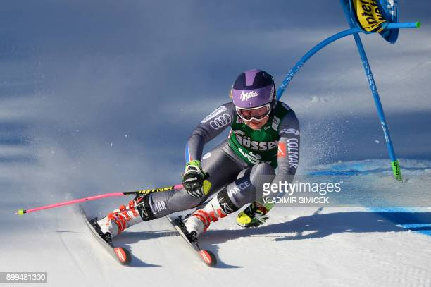 Tessa Worley of France competes during the Ladies' Giant Slalom event of the FIS Ski World Cup in Lienz Austria on December 29 2017 / AFP PHOTO /...